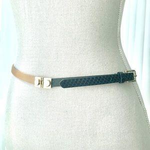 J.Crew Black Tan Leather Belt Gold Rivet Buckle